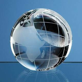 8cm Optical Crystal Globe Paperweight
