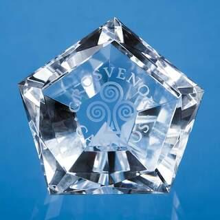 6cm Optical Crystal Facet Pentagon Paperweight