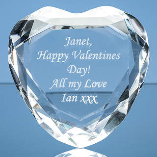 8cm Optical Crystal Clear Flat Facet Heart Paperweight