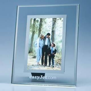 Clear Glass Frame with a Mirror Inlay for 4inchinch x 6inchinch Photo  V