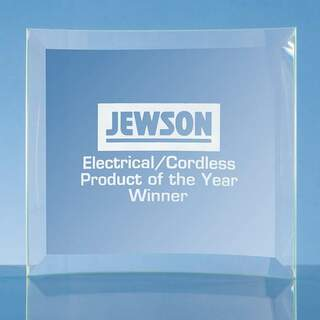 15cm x 16cm x 5mm Jade Glass Bevelled Crescent