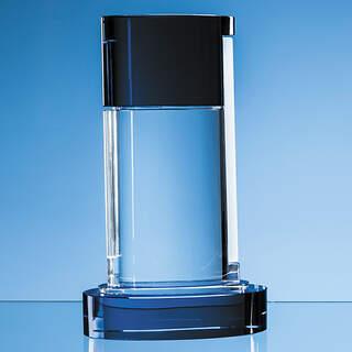 29cm Nik Meller Design Clear Optical Crystal & Cobalt Blue Seeq Oval Column Award