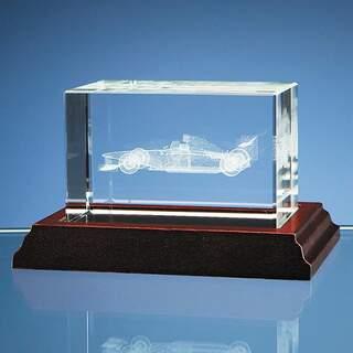 3D Formula 1 Car in Optical Crystal Block