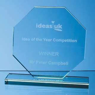 10cm x 10cm x 12mm Jade Glass Octagon Award